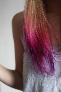 coloration ombre hair rose violet