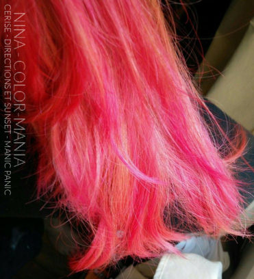 Rose - Merci Nina :) Coloration Cheveux Cerise - Directions et Psychedelic Sunset - Manic Panic