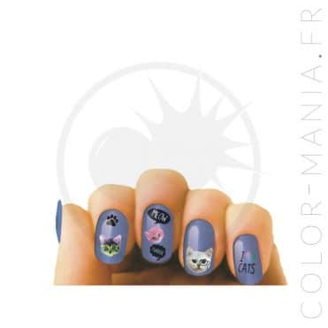 """Nail Art"" Stickers Ongles Chats 