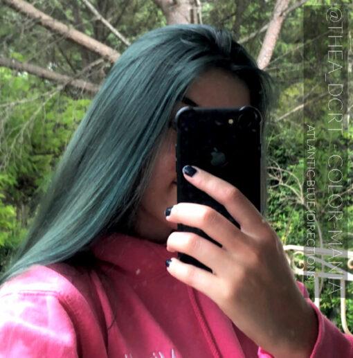 Merci @thea_dcrt :) Coloration Cheveux Bleu Atlantique - Directions - Sur base non décolorée châtain clair | Color-Mania