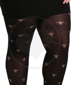 Collants Fantaisie Opaques Noirs avec Croix   Color-Mania