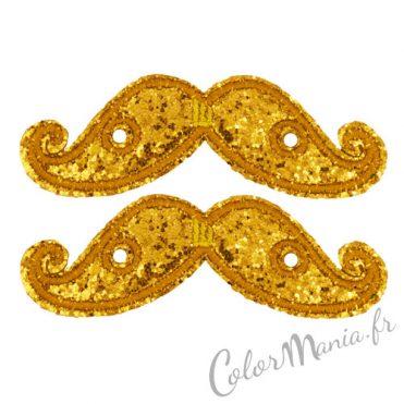 Moustaches Paillettes Dorées pour Chaussures Shwings 1