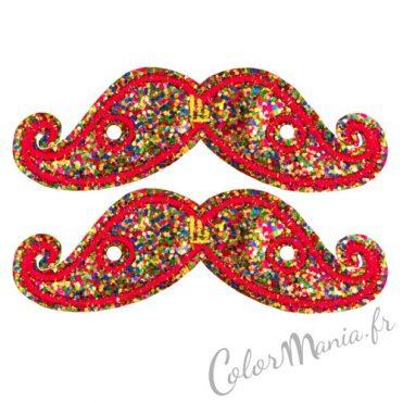 Moustaches Paillettes Multicolores pour Chaussures Shwings