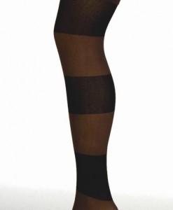 Chaussettes Hautes Rayées Noir-Chocolat