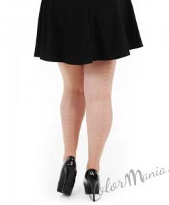 Collants Couture Etoiles Beige Naturel - Grande Taille