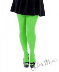 Collant Unis Couleur Vert Fluo - Grande Taille