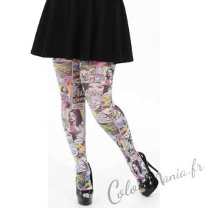 Collants Fantaisie Imprimé 'Comic Strip' - Taille 3XL