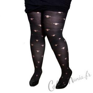 Collants Fantaisie Opaques Noirs avec Croix - Grande Taille