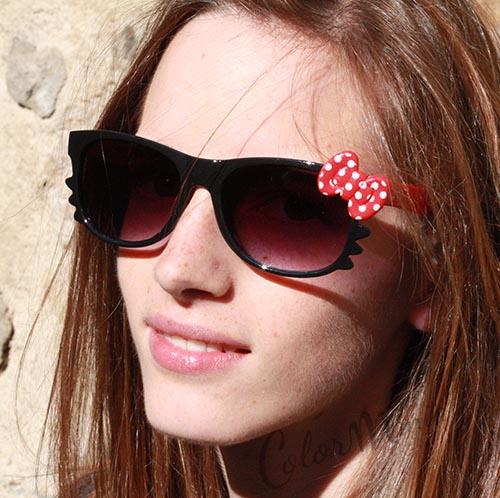 lunettes de soleil type wayfarer chat noir et rouge color mania. Black Bedroom Furniture Sets. Home Design Ideas