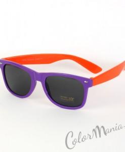 Lunettes de Soleil type Wayfarer Bicolores Violet et Orange