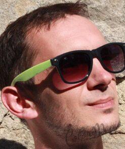 Lunettes de Soleil type Wayfarer Bicolores Vert Amande