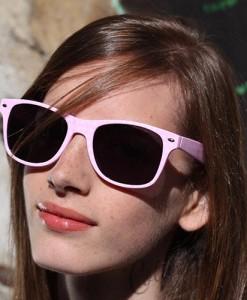 Lunettes de Soleil type Wayfarer à Pois Rose Pastel