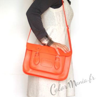 "Sac à main ""Satchel"" Orange Fluo"