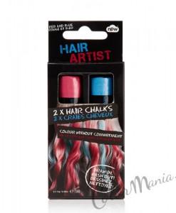"""""""Hair Artist"""" Craies à Cheveux Rouge & Bleu"""