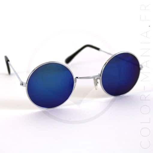 Les lunettes de soleil rondes verres bleus miroir for Lunette soleil verre bleu miroir