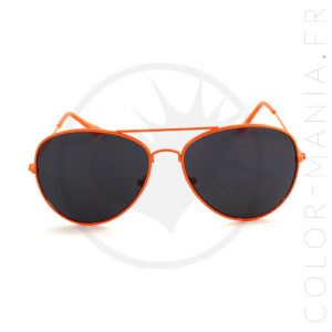 Lunettes de Soleil type Aviator Orange Mandarine | Color-Mania