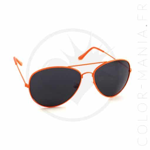 Lunettes de Soleil type Aviator Orange Mandarine | Color-Mania