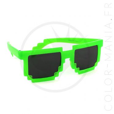 Lunettes Geek Pixels Vert Translucide UV | Color-Mania