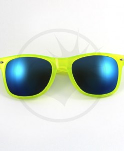 Lunettes de Soleil Jaune Fluo Translucide Verres Miroir Bleus | Co