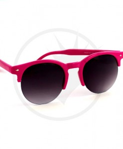 Lunettes de Soleil Rondes type Clubmaster Rose Fuchsia | Color-Mania