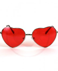 Lunettes de Soleil Cœurs Argent Verres Rouges | Color-Mania