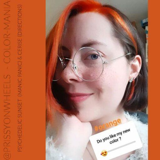 Merci @prissyonwheels :) Coloration Cheveux Orange Psychedelic Sunset - Manic Panic | Color-Mania
