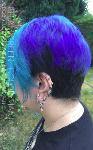 Merci Efflamm Green!- Coloration Cheveux Voodoo Blue - Rockabilly Blue - Manic Panic - Color Mania