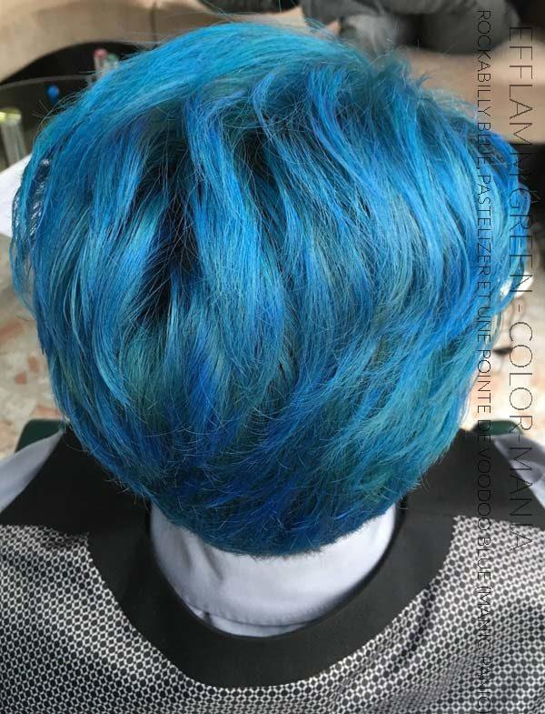 Merci Efflamm Green :) Coloration Cheveux Rockabilly Blue, Pastelizer et une pointe de voodoo blue - Manic Panic | Color-Mania