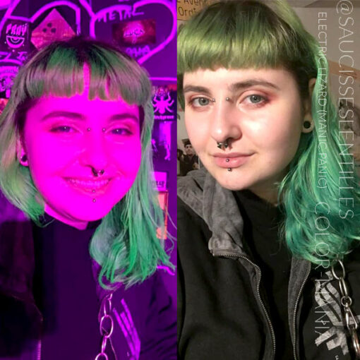 Merci Elodie :) Coloration Cheveux Vert Electric Lizard UV - Manic Panic | Color-Mania