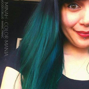 Bleu Vert - Merci Minah :) Coloration Cheveux VoodooBlue - Manic Panic