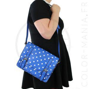 Satchel - Sac à Main Bleu à Pois | Color-Mania
