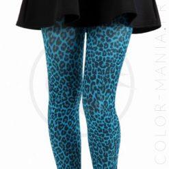 Collants Fantaisie Imprimé Léopard Turquoise | Color-Mania