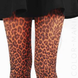 Collants Fantaisie Imprimé Léopard Orange | Color-Mania