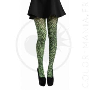 Collants Fantaisie Imprimé Léopard Vert | Color-Mania