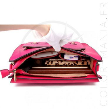 Sac Cartable Satchel Rose Cerise | Color-Mania