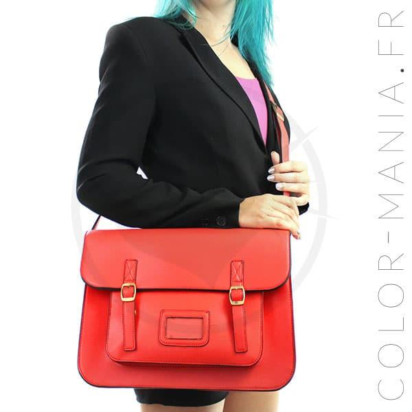 Satchel sac cartable rouge vif color mania - Coloration rouge vif ...