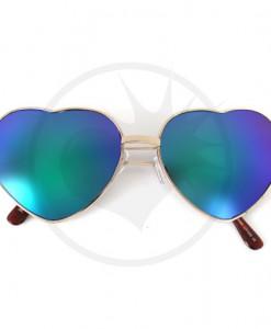 Lunettes de Soleil Coeurs Doré Verres Bleu Miroir | Color-Mania