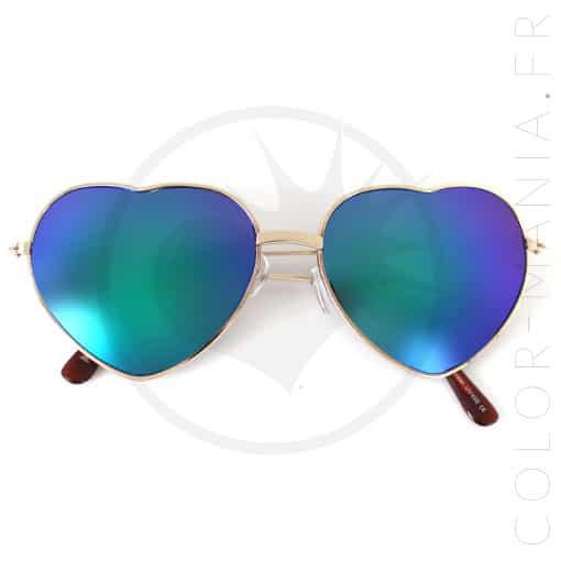 Lunettes de soleil coeurs dor verres bleu miroir color for Lunette soleil verre bleu miroir
