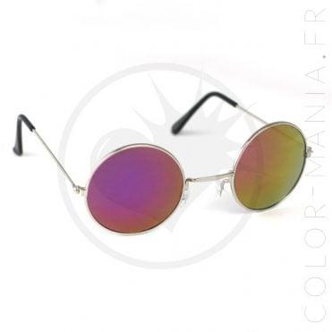 Lunettes de Soleil Rondes - Verres Fuchsia Miroir   Color-Mania