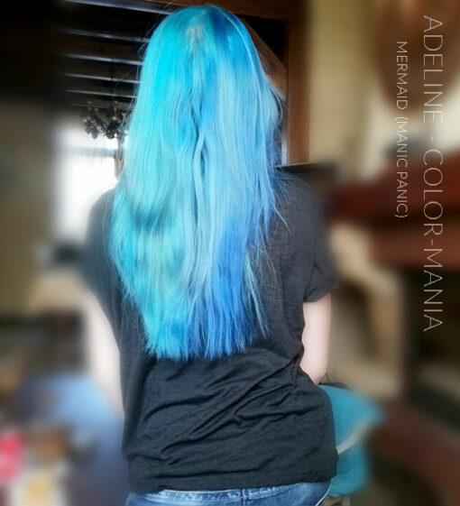 Merci Adeline :) Coloration Cheveux Bleu Sirène Mermaid - Manic Panic   Color-Mania