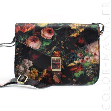 Mini Satchel – Sac à Main Rétro Noir à Fleurs | Color-Mania