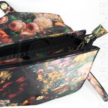 Mini Satchel - Sac à Main Rétro Noir à Fleurs | Color-Mania
