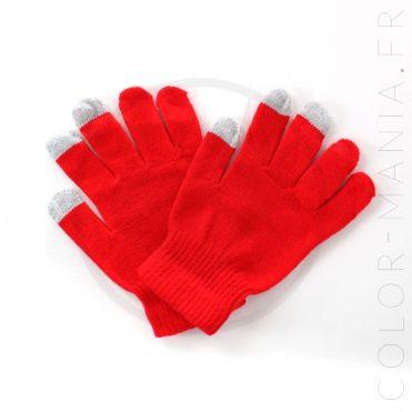 Gants Tactiles Rouge Vif | Color-Mania