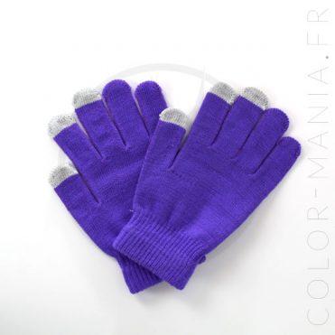 Gants Tactiles Violets | Color-Mania
