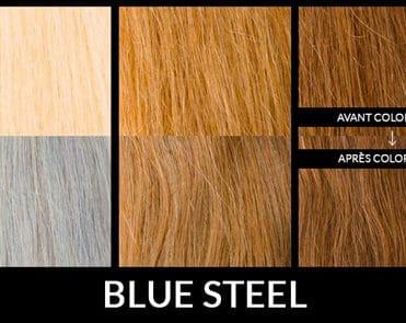 Rendu de la Coloration Cheeux Gris Bleuté Blue Steel en fonction de la couleur de base