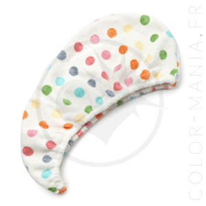 Serviette Sèche-Cheveux Microfibre Pois Multicolores | Color-Ma