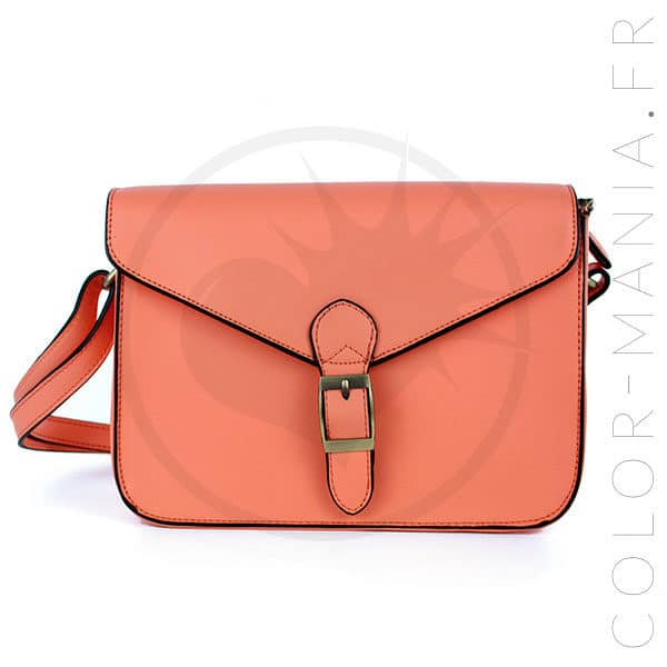 391d843203 Mini Satchel - Sac à Main Rétro Orange Corail | Color-Mania