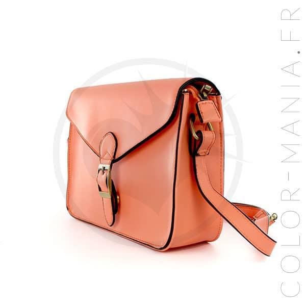 Mini Satchel - Sac à Main Rétro Orange Corail | Color-Mania