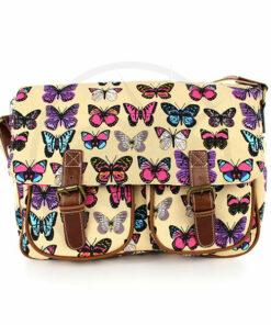 Bolso de color beige de Cambridge con estampado de mariposas   Color-Mania