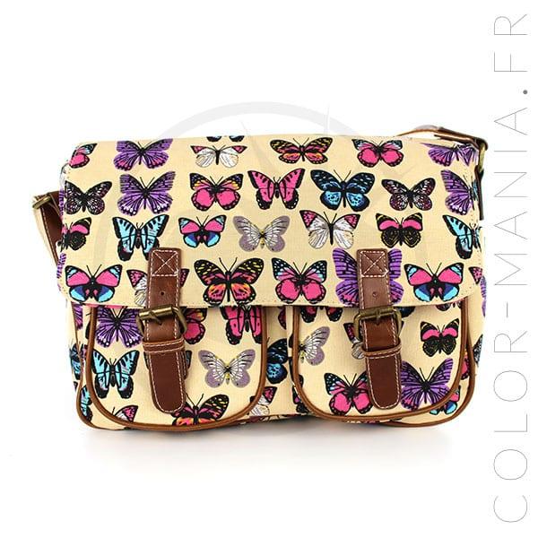 Sacoche Cambridge Beige Imprimé Papillons | Color-Mania